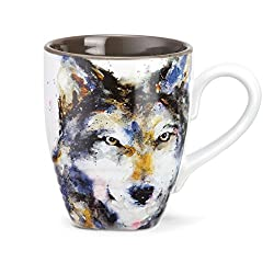 Wolf Watercolor Gray On White 16 Ounce Glossy Stoneware Mug With Handle