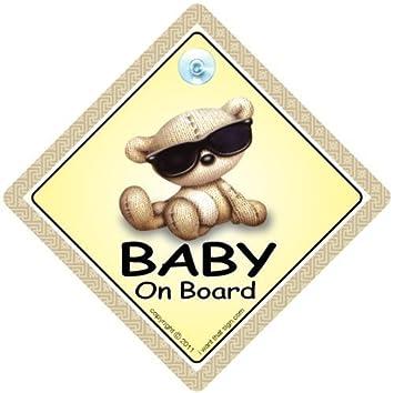 Baby an Bord Schild mit Saugnapf Fahrzeug Sicherheit Hell Autoschild