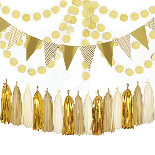 Sparkly Shiny Tassel Garland Tissue Pennant Banner and Glittering Garland Circle Dots Hanging Decorations Set for Party -