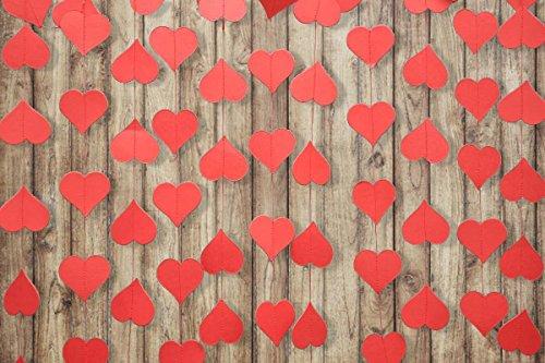 Red heart garland - Heart garland - Valentines day heart garland - Paper garland - Wedding decoration - Bridal shower - Paper Heart Garland