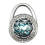 JewelBeauty Handbag Hangers Purse Hook Holder Held Storage Lightweight Metal Heart Cut-out Crystal Bling Diamond Instant Folding Table Bag Hanger for Women Girls (light blue)
