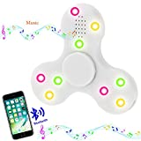 Bluetooth fidget spinner, musical spinner, white triangle hand tri-spinner for adhd, add, anxiety, and autism adults & children's