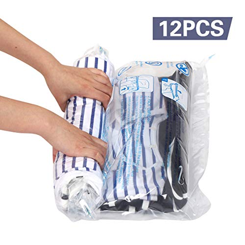 Hibag 12 Travel Compression Bags, 12-Pack Roll-Up Space Saver Storage Bags for Travel, Suitcase Size (12-Travel) (Zip Top Plastic Bags For Air Travel)