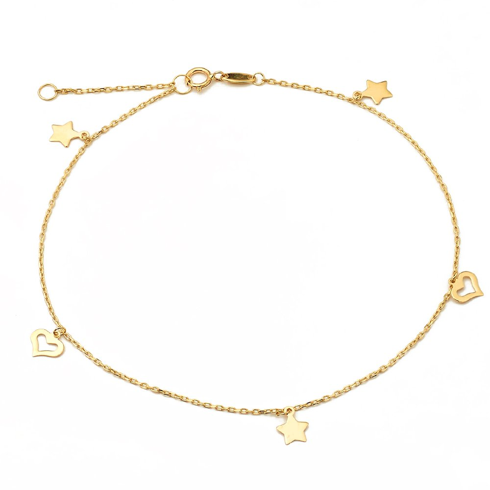 LoveBling 10K Yellow Gold .50mm Diamond Cut Rolo Chain with Star and Heart pendants Anklet Adjustable 9'' to 10'' (#26)