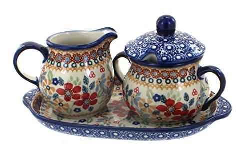 OKSLO Po pottery red daisy sugar & creamer with tray (Daisy Creamer)