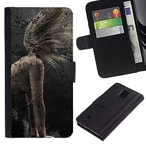 JackGot ( Chica rústico vintage ) Samsung Galaxy Note 4 IV la tarjeta de Crédito Slots PU Funda de cuero Monedero caso cubierta de piel