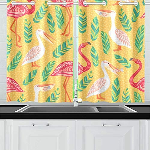 ZSHMG Kitchen Curtains Pink Flamingos Pelicans Tropical Leaves On Window Drapes 2 Panel Set for Kitchen Cafe Decor, 52 X 39 , Bath Window Curtain