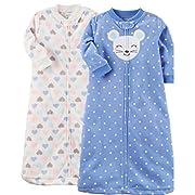 Carter's Baby 2-Pack Microfleece Sleepbag (Blue/Multi, Small)