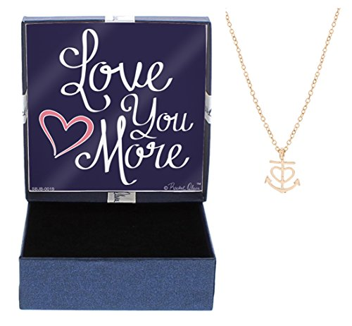 Nautical Jewelry Love You More Heart Anchor Necklace Fashion Rose Gold-Tone Link Chain Necklace Jewelry Box Keepsake Gift Boating Girlfriend by Gift Jewelry By Rachel Olevia