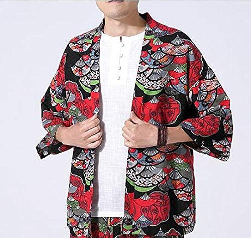 LYH Kimono Cardigan Męskie Japanisch Obi Männlich Yukata Męskie Haori Japanisch Samurai Kleidung Traditionelle Japanisch Kleidung Plus Size-Color1_4XL: Odzież