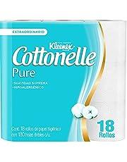 Kleenex Cottonelle Pure Papel Higiénico, Paquete con 18 rollos de 180 hojas dobles, Hipoalergénico con extracto de Algodón
