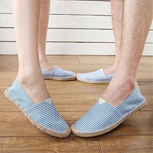 Espadrilles Flats Loafers Shoes Straw Women Canvas And Slip thinblue Linen on SHELAIDON Men's Hemp qYZScZ