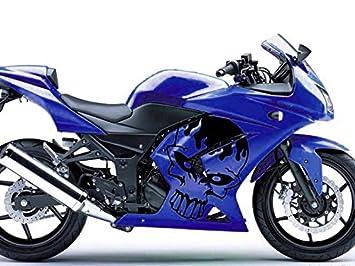 Moto OnFire azul y negro cráneo ABS plástico Kits de embellecedores para 2008 2009 2010 2011 2012 Kawasaki Ninja 250R EX250: Amazon.es: Coche y moto