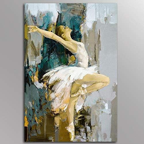 ダンスバレリーナキャンバス絵画アーティストキャンバス絵画ポスター壁アート写真リビングルーム装飾-50x70cmx1ピースフレームなし