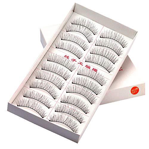 SUSSMAI Handmade Natural Fashion Long False Eyelashes for Makeup 10 Pairs 216/217 Natural Long Section Nude Makeup Eyelashes 10 Pairs 217 -