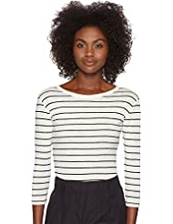 Vince Womens Chalk Stripe 3/4 Sleeve Crew Top