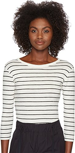 Vince Women's Chalk Stripe 3/4 Sleeve Crew Top Off-White/Black Small by Vince