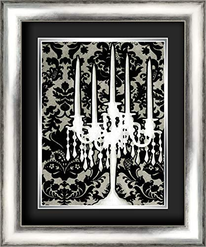 Patterned Candelabra I 20x24 Silver Contemporary Wood Framed and Double Matted (Black Over Silver) Art Print by Harper, Ethan