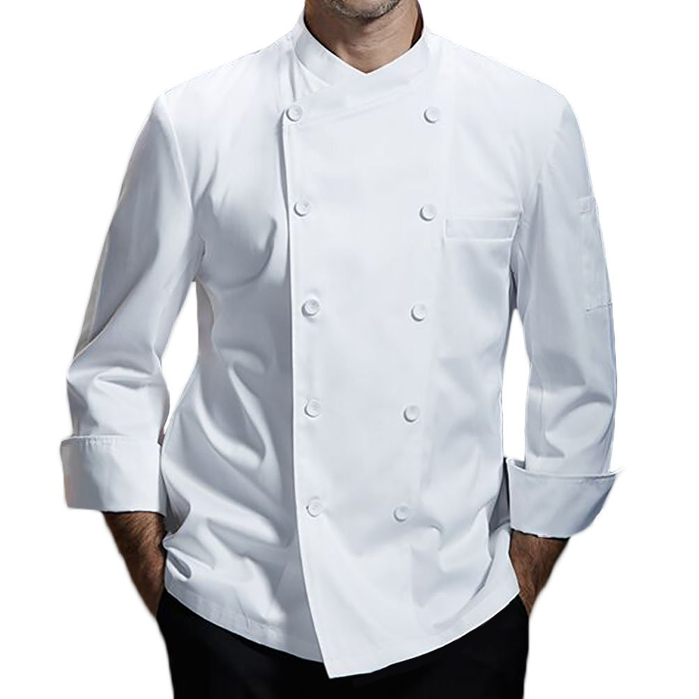 Nanxson(TM Kitchen Cotton Uniform Roll-up Sleeve Chef Working Coat with Air Mesh CFM0028 (White, XXXL)