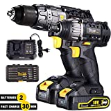 Drill and Impact Driver, TECCPO Cordless Drill Driver 18V, Twin Pack, 2 Batterie 2.0Ah, 30min Fast Charger, 180Nm Impact Driver 2900RPM Max Speed, 60Nm Hammer Drill with Belt Clip - TDCK01P