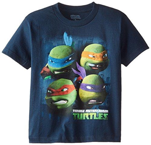 Teenage Mutant Ninja Turtles Big Boys' Short Sleeve Tee Shirt, Navy, Medium / 10/12
