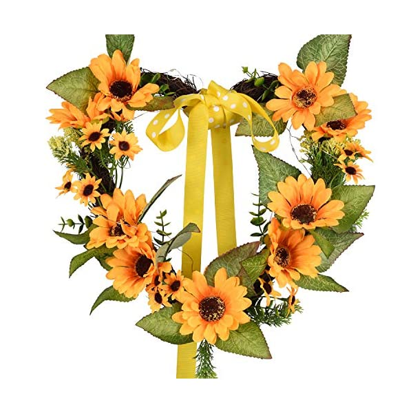 "TINGOR 13"" Artificial Sunflower Wreath, Heart-Shaped Greenery Springtime Flower Wreath with Yellow Sunflower and Green Leaves for Front Door Outdoor Wall Wedding Home Summer Decoration (LED & Ribbon)"