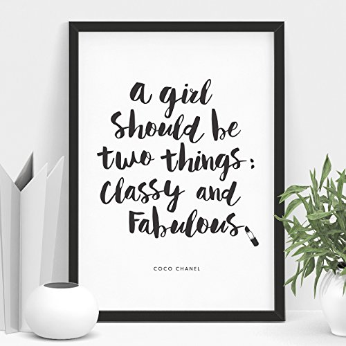Coco Chanel quote Typography Poster A Girl Should Be Two Things Classy and Fabulous Wall Decor Motivational Print Inspirational Poster Home Decor