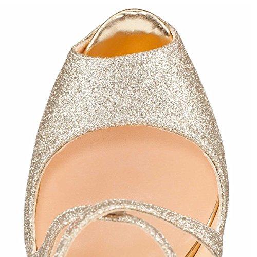 Coolcept Donne Moda Peep Toe Stiletto Sandali Piattaforma Tacchi Alti Da Sposa Scarpe Da Festa Da Sposa Glitter Argento
