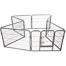 OxGord 8-Panel Metal Fence with Anchors Heavy Duty Pen Tube with Door for Pets, 185 x 185 x 61cm