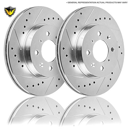 Drilled Slotted Front Brake Rotors For Nissan 200SX & Sentra B14 - Duralo 152-3370 New