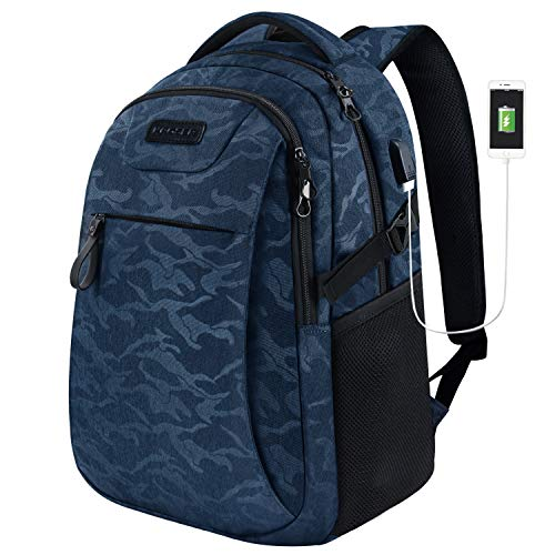 KROSER Laptop Backpack for 15.6 Inch Travel Business Computer Backpack with USB Charging Port Water-Repellent College School Casual Daypack for/Men/Women-Camouflage Blue