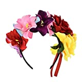 Love Sweety Frida Kahlo Flower Crown Mexican Featival Headband Day of The Dead Headpiece (Rose Red Yellow)