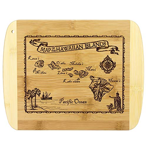 Totally Bamboo Vintage Hawaiian Islands Nautical Map Engraved Bamboo Serving and Cutting Board ()