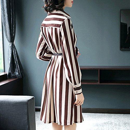 Beige Sleeve Women`s Patchwork Formal Summer Neck Dress Suit for Slim Dresses Fit Spring Strip Lapel Long cotyledon wXavxpdqa