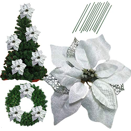 Poinsettia Silver - 8.6 Inch Glitter Artifical Wedding Christmas Flowers Glitter Poinsettia Christmas Tree Ornaments Christmas Tree Decorations Pack of 12 (Silver)