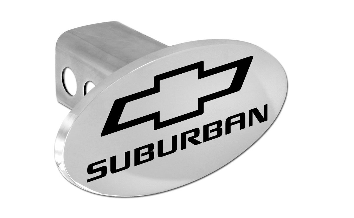 Chevy Suburban 2012-2016 Bowtie Chrome Plated Metal Trailer Hitch Cover Plug (2 inch Post) by Chevrolet