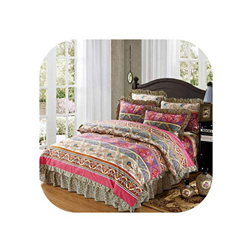 Cotton Soft Bedclothes Queen King Size Bedding Sets Quilted Thick Bed Spread Duvet Cover Bed Sheet Set Pillowcase 4/6Pcs,Color11,Queen Size 6pcs ()