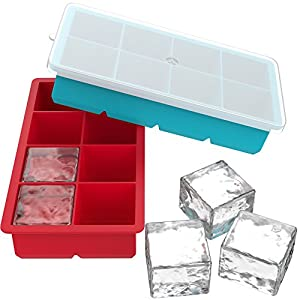 Vremi Large Ice Cube Trays for Whiskey - 2 Pack Silicone Tray Set with BPA Free Plastic Lids for 16 Square Cubes Flexible Stackable Easy Release Freezer Molds for Soap Making or Dog Treats - Red Blue