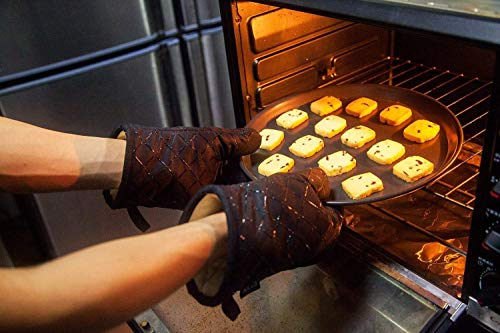 AICOK Oven Mitts, Heat Resistant Oven Gloves, Non-Slip Cooking Gloves, for BBQ, Baking, Barbecue Potholder, Black by AICOK (Image #1)