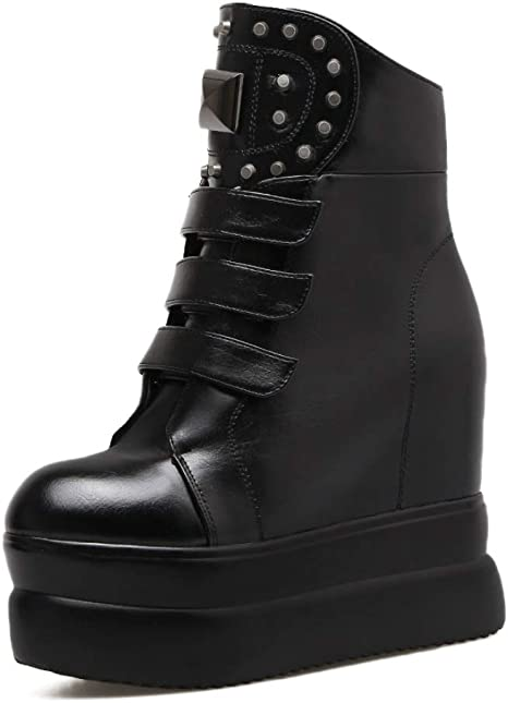 SHANGWU Womens Wedges Ankle Boots//Hidden High Heel 8CM Trainers High Top Platform Casual Boots Black Party Shoes Boots High Heels Suede Size