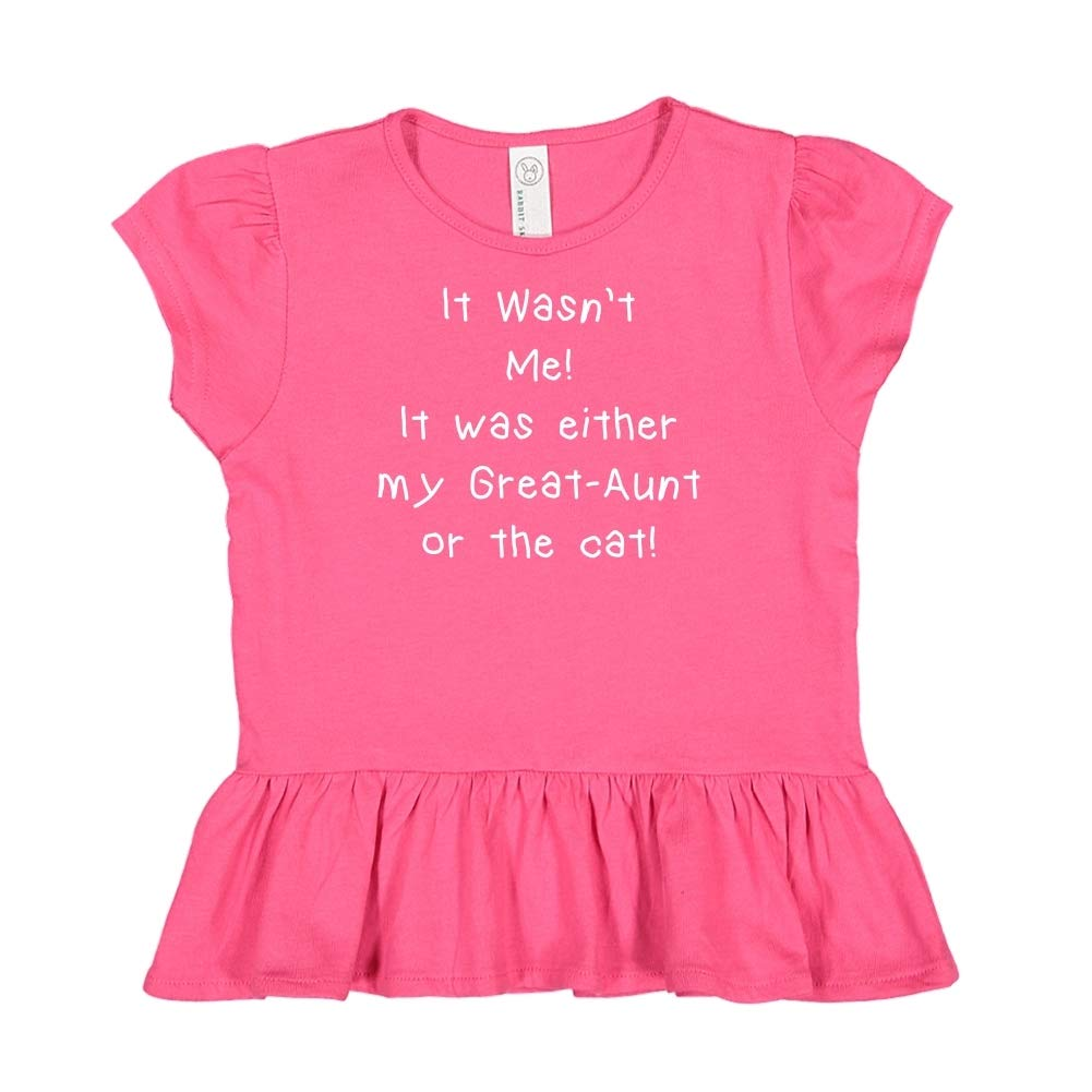 Toddler//Kids Ruffle T-Shirt It Wasnt Me It was Either My Great-Aunt Or The Cat