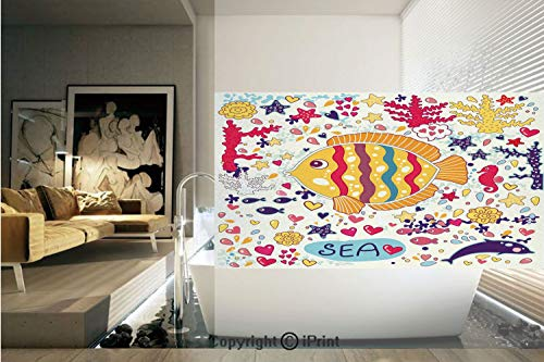 Decorative Privacy Window Film/Under the Sea Theme Cartoon Fish Seahorse Bubble Ocean Wave Octopus Underwater Print Decorative/No-Glue Self Static Cling for Home Bedroom Bathroom Kitchen Office -