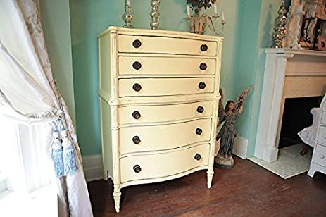 Antique Vintage Shabby Chic Butter Yellow Tall Dresser Distressed