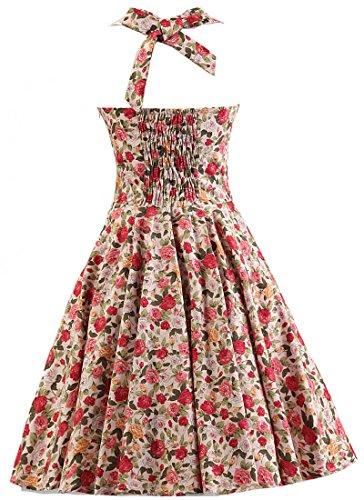 Des Femmes Amystylish 1950 Licol Cru De Robe De Demoiselle D'honneur Cocktail Floral Fleur Rose