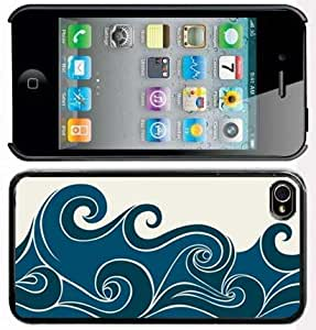 Apple iPhone 4 4S 4G Black 4B242 Hard Back Case Cover Color Abstract Blue Stylized Waves