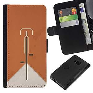 KLONGSHOP // Tirón de la caja Cartera de cuero con ranuras para tarjetas - Bicicleta Naranja Hipster minimalista Alternativa - HTC One M7 //