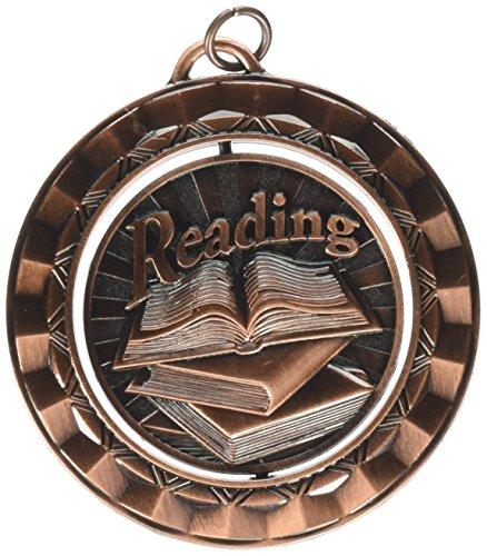 Hammond & Stephens Reading Die Struck Spinner Medal, 2-5/16 in, Metal, Bronze