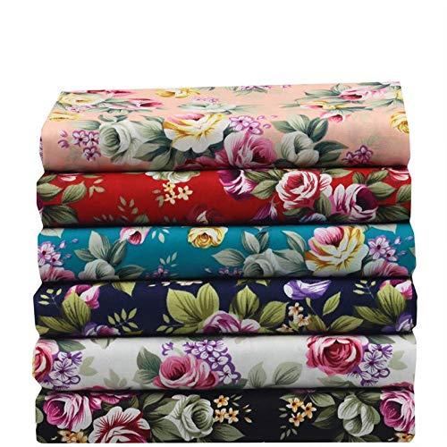 6 Pcs 18x25cm Patchwork Cotton Fabric Sewing Poplin Fabrics 6 Designs Big Flowerdiy Bamboo Fiber Material Cloth ()