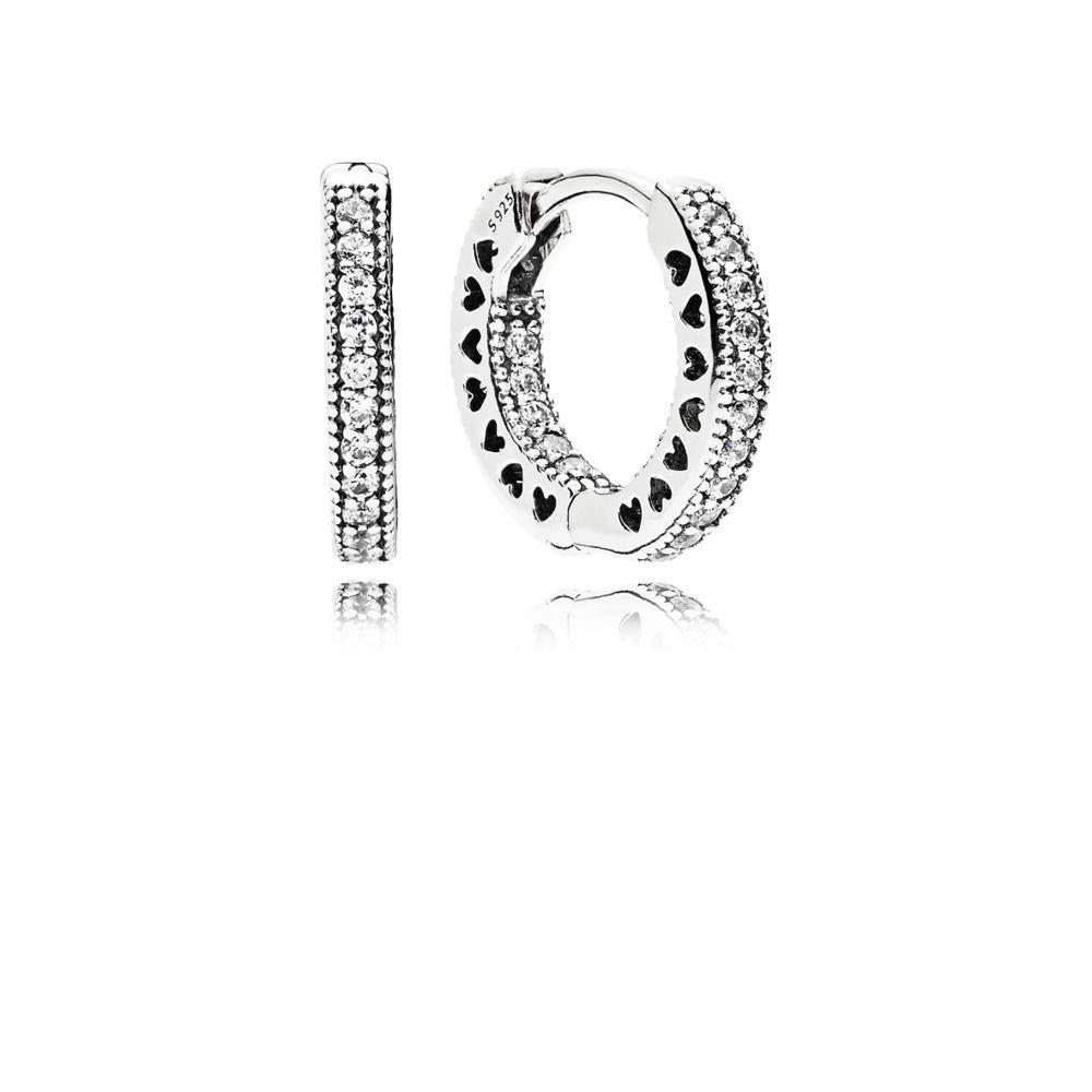 bb6ca403d Amazon.com: Pandora Hearts of Pandora Silver Hoop Earrings With CZ  296317CZ: Jewelry