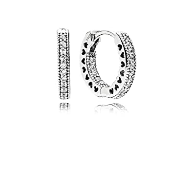 bceb04455 Amazon.com: Pandora Hearts of Pandora Silver Hoop Earrings With CZ  296317CZ: Jewelry